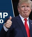 Trump 2020 banner with Donald Trump giving thumbs up