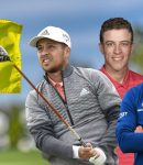 Yellow Flag With the Masters Logo - Cameron Champ, Rickie Fowler, Daniel Berger and Xander Schauffele