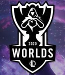2020 LoL Worlds Logo - Team Liquid, JD Gaming, Fnatic and Top Esports Logos - Purple Clouds Background