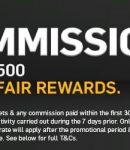 Spanduk yang menunjukkan tawaran pendaftaran komisi nol dari Betfair.